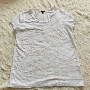 Ann Taylor size XL white Sequined shirt sleeve top
